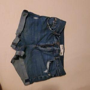 Medium wash high rise shorts